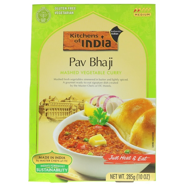 Kitchens of India, Pav Bhaji, Mashed Vegetable Curry, Medium, 10 oz (285 g) (Discontinued Item)