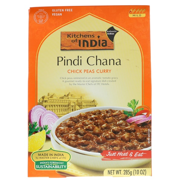 Kitchens of India, Pindi Chana, Chick Peas Curry, Mild, 10 oz (285 g) (Discontinued Item)