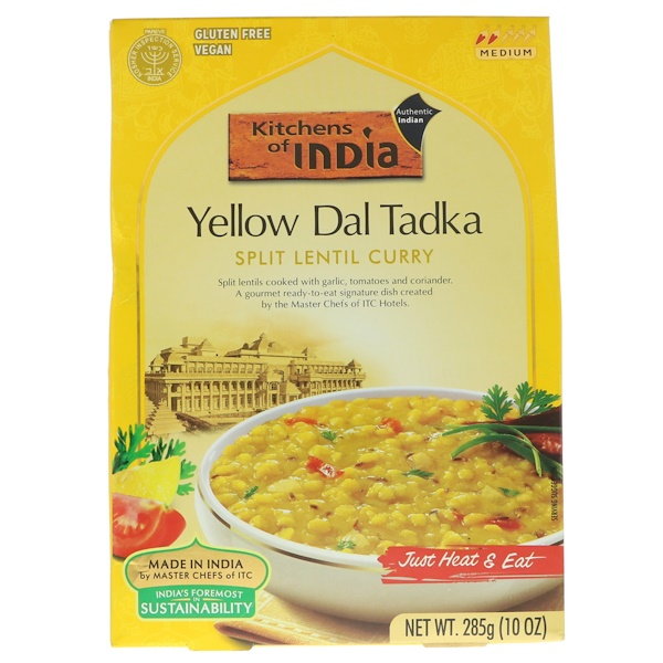 Kitchens of India, Yellow Dal Tadka, Split Lentil Curry, Medium, 10 oz (285 g) (Discontinued Item)
