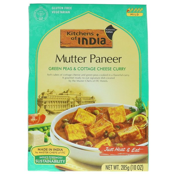 Kitchens of India, Mutter Paneer, Green Peas & Cottage Cheese Curry, Mild, 10 oz (285 g) (Discontinued Item)