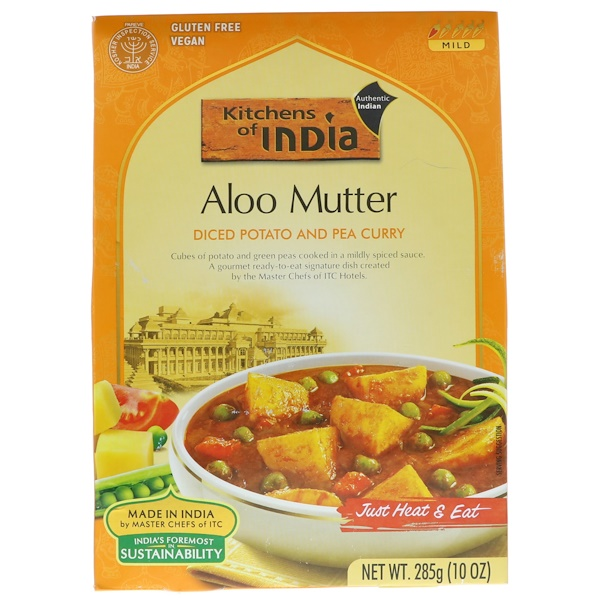 Kitchens of India, アルームター、角切りポテトとエンドウ豆のカレー、10 oz (285 g) (Discontinued Item)