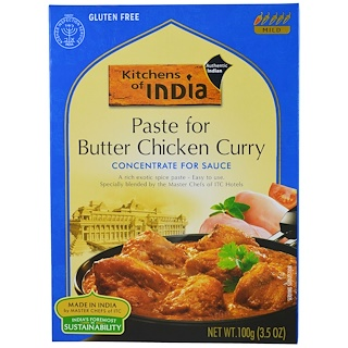 Kitchens of India, Paste for Butter Chicken Curry, Concentrate for Sauce, Mild, 3.5 oz (100 g)