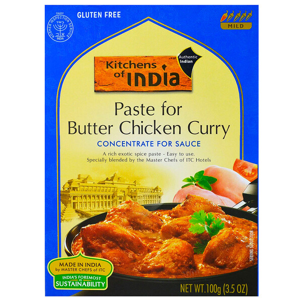Kitchens of India, Paste for Butter Chicken Curry, Concentrate for Sauce, 3.5 oz (100 g), 3.5 oz (100 g)