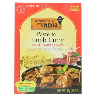 Kitchens of India, Paste For Lamb Curry, Concentrate For Sauce, Medium, 3.5 oz (100 g)