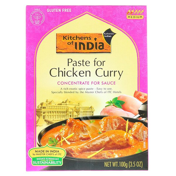 Paste for Chicken Curry, Concentrate For Sauce, Medium, 3.5 oz (100 g)