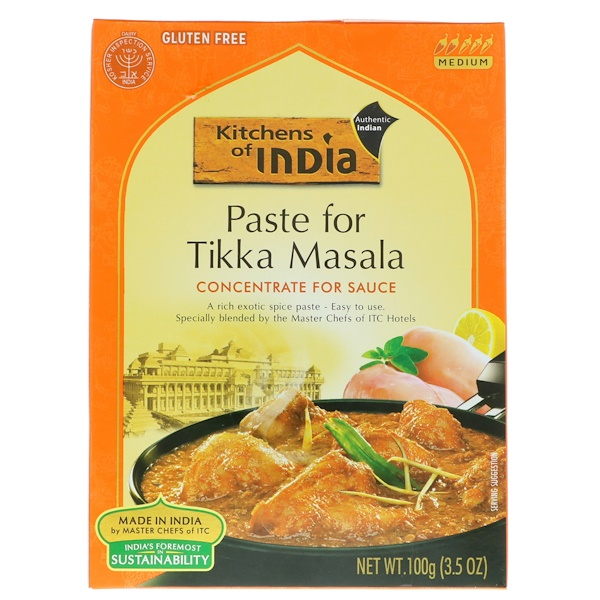 Kitchens of India, Paste For Tikka Masala, Concentrate For Sauce, Medium, 3.5 oz (100 g)