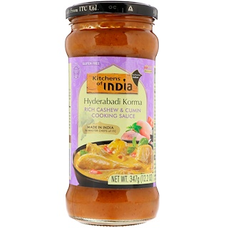 Kitchens of India, Hyderabadi Korma, Rich Cashew & Cumin Cooking Sauce, Medium, 12.2 oz (347 g)