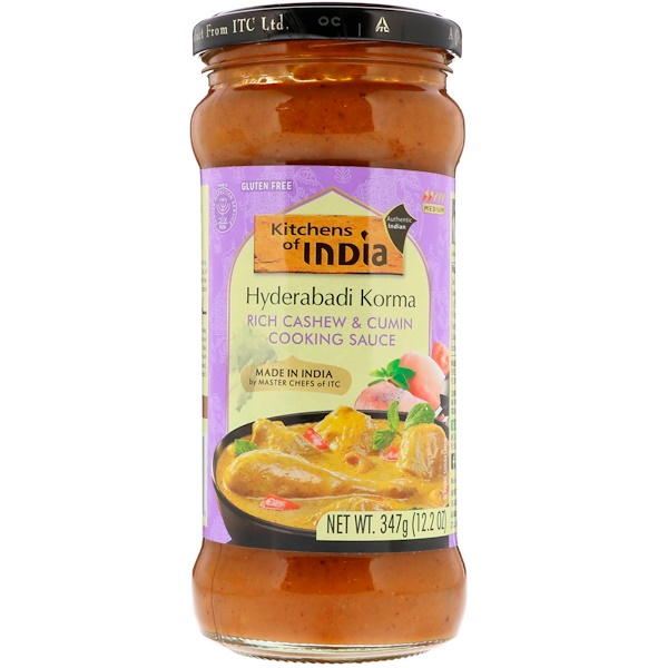 Kitchens of India, Hyderabadi Korma, Rich Cashew & Cumin Cooking Sauce, Medium, 12.2 oz (347 g) (Discontinued Item)