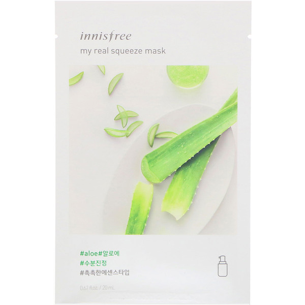 Innisfree, My Real Squeeze Mask, Aloe, 1 Sheet, 0.67 fl oz (20 ml) (Discontinued Item)