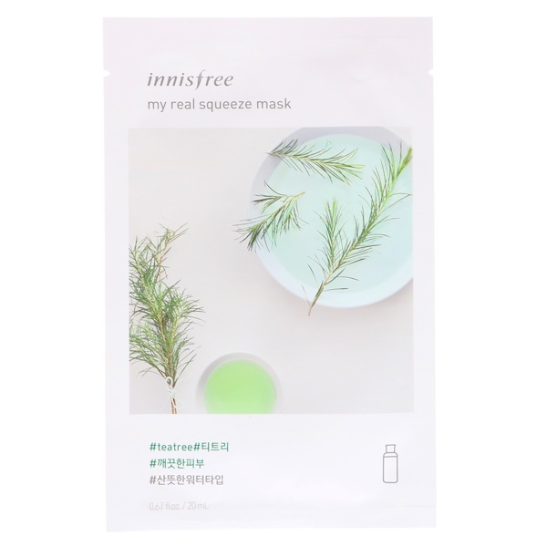 Innisfree, My Real Squeeze Mask, Tea Tree, 1 Sheet, 0.67 fl oz (20 ml) (Discontinued Item)
