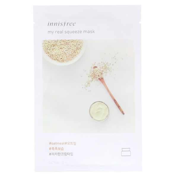 Innisfree, My Real Squeeze Mask, Oatmeal, 1 Sheet, 0.67 fl oz (20 ml) (Discontinued Item)