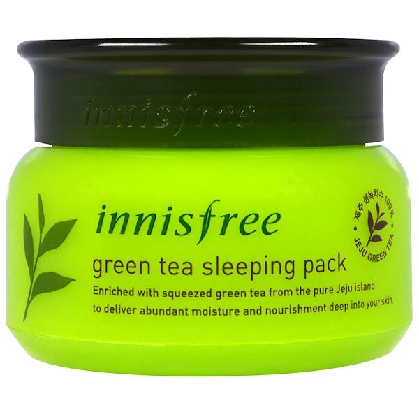 Innisfree, Увлажняющий ночной крем с экстрактом зеленого чая, 2,7 унций (80 мл)