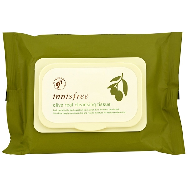 Innisfree, Olive Real Cleansing Tissue, 30 Sheets, (150 g) (Discontinued Item)