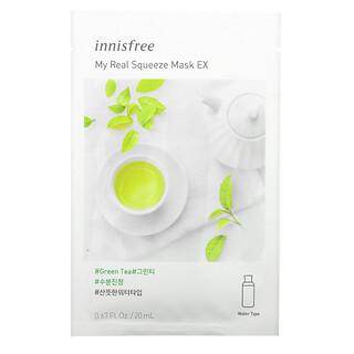 Innisfree, My Real Squeeze Beauty Mask EX, Green Tea, 1 Sheet, 0.67 fl oz (20 ml)