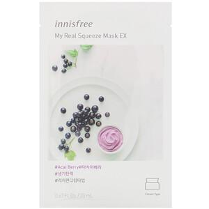 Иннисфри, My Real Squeeze Mask EX, Acai Berry, 1 Sheet, 0.67 fl oz (20 ml) отзывы покупателей