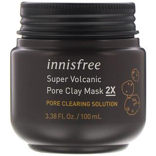 Innisfree, Super mascarilla de arcilla volcánica para los poros 2X, 100ml (3,38oz.líq.)