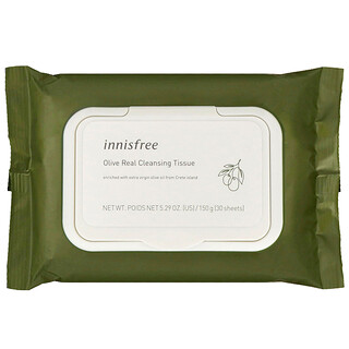 Innisfree, Olive Real Cleansing Tissue, 30 Sheets