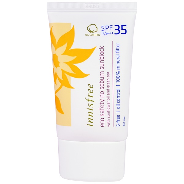 Innisfree, Eco Safety No Sebum Sunblock, SPF 35 PA+++, 1.69 oz (50 ml) (Discontinued Item)
