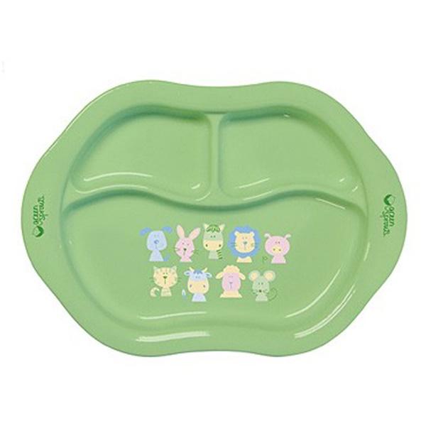 """iPlay Inc., """"Зеленые ростки"""", тарелка из кукурузного крахмала с отделениями, для малышей от 3 месяцев (Discontinued Item)"""