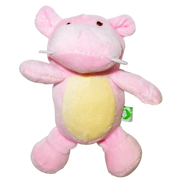 i play Inc., Green Sprouts, Organic, Velour Rattle Toy, 3+ Months, Rose Hippo, 1 Toy (Discontinued Item)