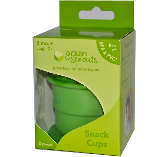 iPlay Inc., Green Sprouts, Snack Cups, Stage 2+, 2 Pieces (Discontinued Item)