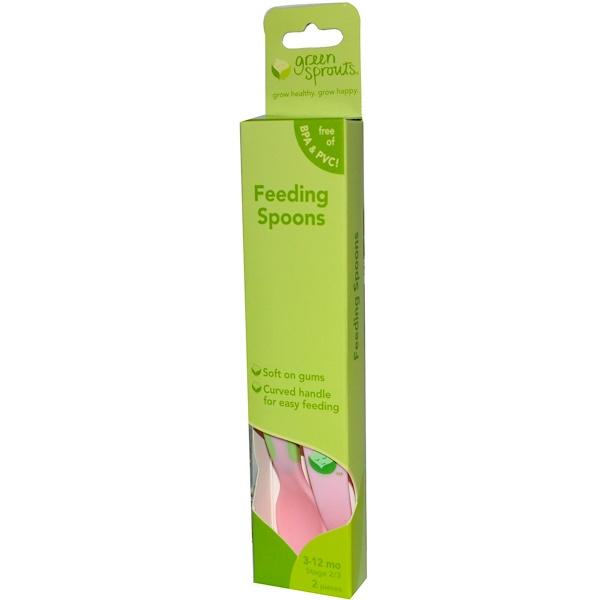 iPlay Inc., Green Sprouts, ложки для кормления, розовые, этапы 2/3, 3-12 месяцев 2 шт (Discontinued Item)