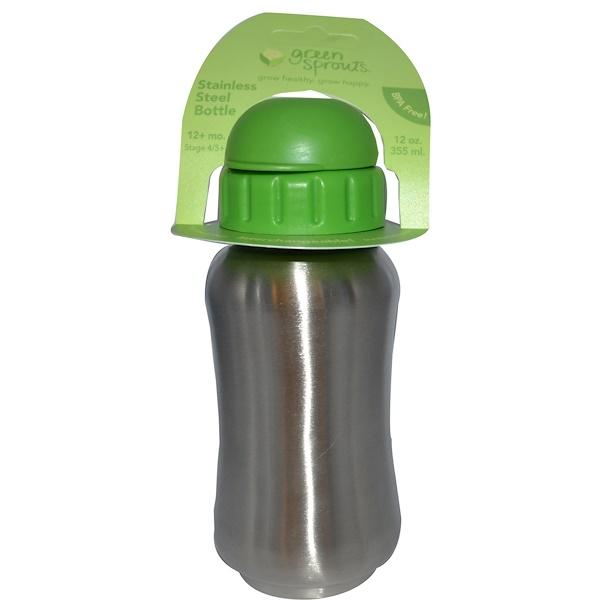 iPlay Inc., Green Sprouts, Бутылочка из нержавеющей стали Шаг 4/5, 12 + месяцев 12 унции (355 мл) (Discontinued Item)