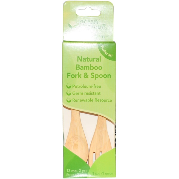 iPlay Inc., Natural Bamboo Fork & Spoon, Stage 4/5+, 12 mo-2 yr+ (Discontinued Item)