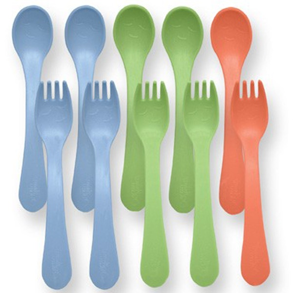 iPlay Inc., Green Sprouts, Toddler Forks & Spoons, Stage 4/5+, 12 Mo-2 Yr+, 5 Forks/5 Spoons (Discontinued Item)