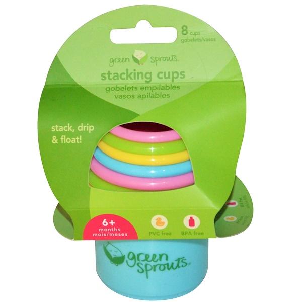 """i play Inc., """"Зеленые ростки"""", пирамидка-стаканчики, для малышей от 6 месяцев, 8 штук (Discontinued Item)"""