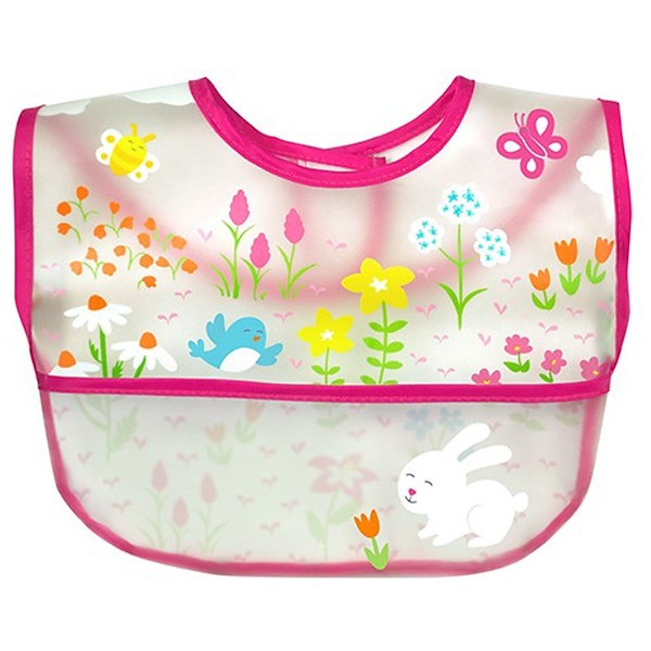 i play Inc., Green Sprouts, Wipe-Off Bib, 9-18 Months, Pink, 1 Bib (Discontinued Item)