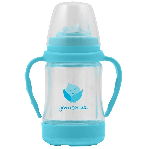 i play Inc., Glass Sip & Straw Cup, 6+ Months, 9+ Months, Light Blue, 1 Cup, 4 oz (125 ml) (Discontinued Item)
