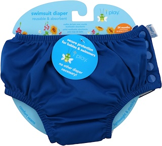 i play Inc., Swimsuit Diaper, Reusable & Absorbent, 24 Months, Royal Blue, 1 Diaper