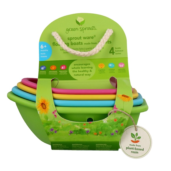 i play Inc., Green Sprouts, Sprout Ware, Floating Boats, 6+ Months, 4 Boats