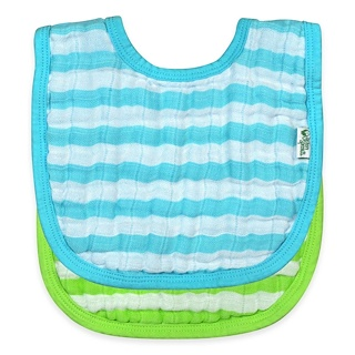 iPlay Inc., Green Sprouts, Muslin Bibs, 0-12 Months, Aqua & Green Set, 2 Pack