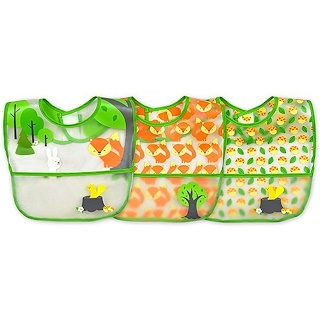i play Inc., Green Sprouts, Wipe-Off Bibs, 9-18 Months, Green Fox Set, 3 Pack