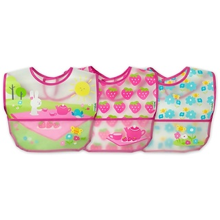 iPlay Inc., Green Sprouts, Wipe-Off Bibs, 9-18 Months, Pink Picnic Set, 3 Pack