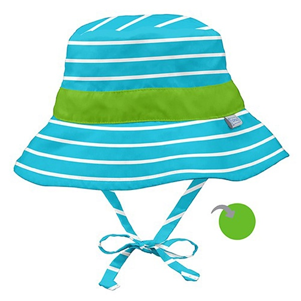 i play Inc., Classic Reversible Bucket Sun Protection Hat, 9-12 Months, Aqua Stripe (Discontinued Item)