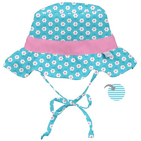 i play Inc., Classic Reversible Ruffle Bucket Sun Protection Hat, 9-18 Months, Aqua Daisy (Discontinued Item)