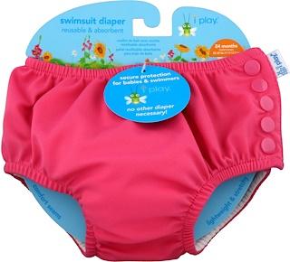i play Inc., Многоразовый и впитывающий подгузник для плавания, для 2-летних малышей, ярко-розовый, 1 шт
