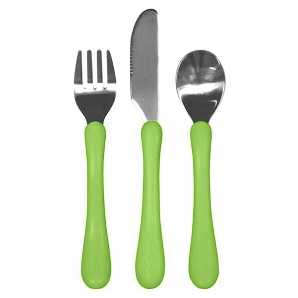 i play Inc., Learning Cutlery Set, 12+ Months, Green Handle, 1 Fork, Knife Spoon (Discontinued Item)