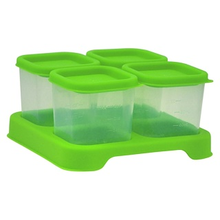 iPlay Inc., Green Sprouts, Fresh Baby Food Unbreakable Cubes, Green Set, 4 Pack- 4 oz (118ml) Each