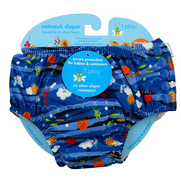 i play Inc., Swimsuit Diaper, Reusable & Absorbent, 24 Months, Royal Blue Sea Friends, 1 Diaper (Discontinued Item)