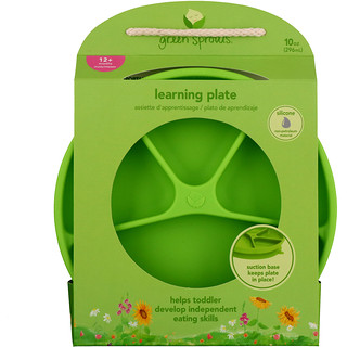 i play Inc., Green Sprouts, Learning Plate, Green, 12+ Months, 1 Plate, 10 oz (296 ml)