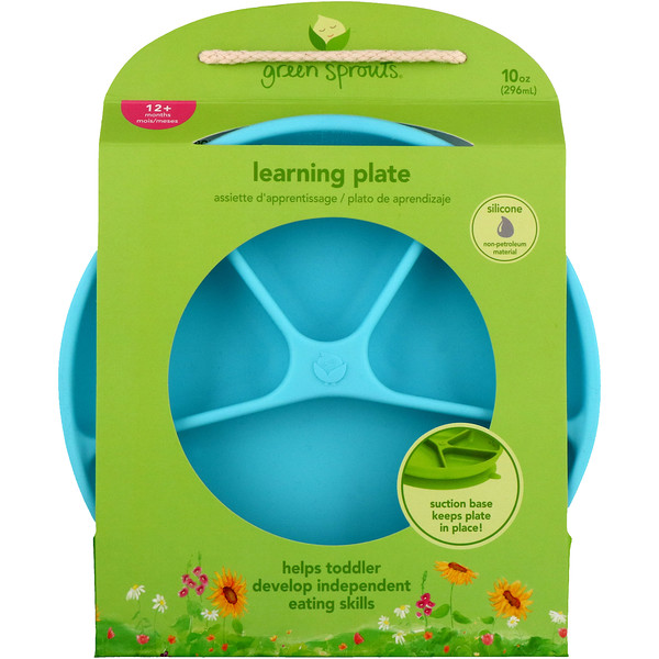 i play Inc., Green Sprouts, Learning Plate, Aqua, 12+ Months, 1 Plate, 10 oz (296 ml) (Discontinued Item)