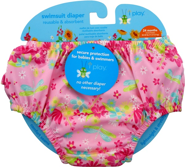 i play Inc., Swimsuit Diaper, Reusable & Absorbent, 24 Months, Light Pink Dragonfly, 1 Diaper