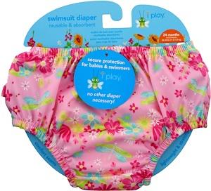 Айплэй ИНк, Swimsuit Diaper, Reusable & Absorbent, 24 Months, Light Pink Dragonfly, 1 Diaper отзывы