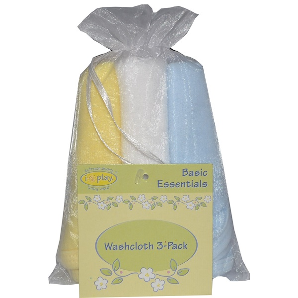 iPlay Inc., Basic Essentials, Washcloth Gift Pack, Boy, Blue, White, Yellow, 3 Pack (Discontinued Item)