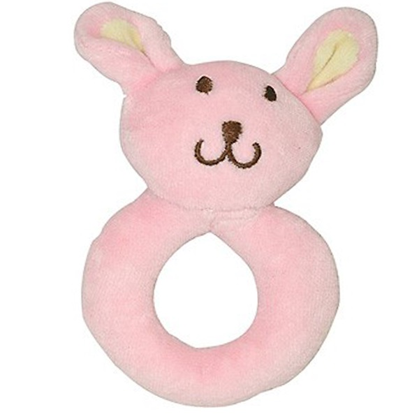i play Inc., Green Sprouts, Velour Ring Rattle, Bunny, 3+ Months, 1 Rattle (Discontinued Item)