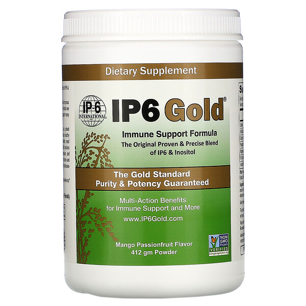 IP-6 International, IP6 Gold, Immune Support Formula Powder, Mango Passionfruit Flavor, 412 gm